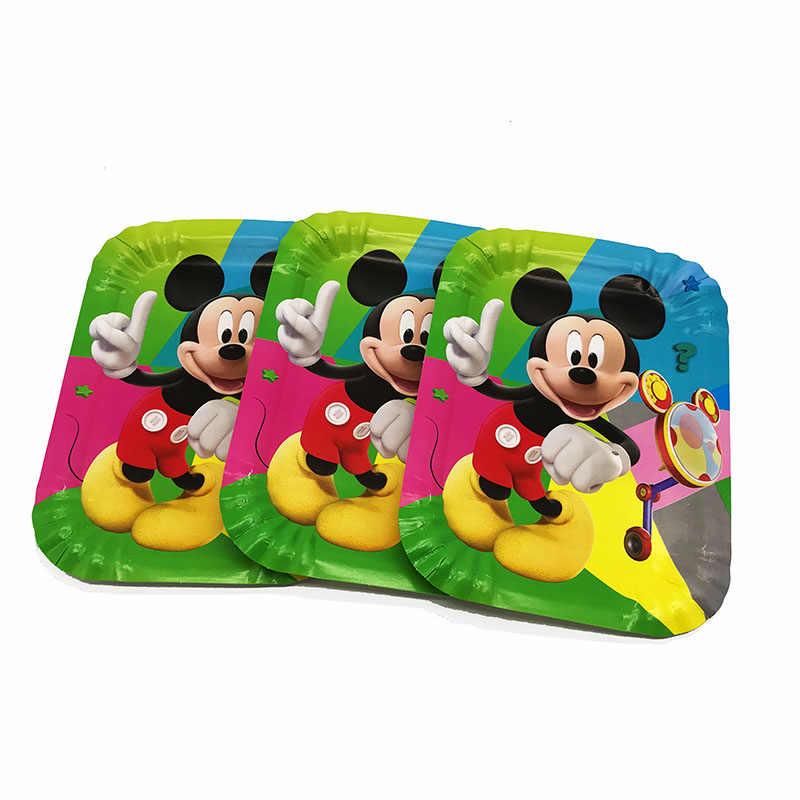 10 pçs/lote pratos descartáveis de Mickey Mouse Mickey Mouse fontes do partido de aniversário para o filho Mickey Mouse pratos descartáveis