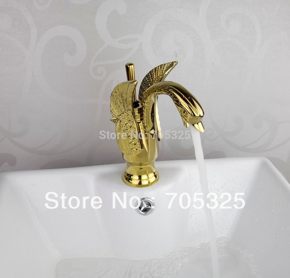 Swan New Nice Spout Design Single Handle Polished Golden Basin Tap Mixer Deck Kitchen Sink Bathroom Bathtub Faucet  Set  CC-5555 golden swivel spout deck mount bathroom kitchen faucet 1 hole sink mixer tap new