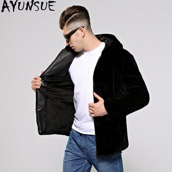 AYUNSUE Male Faux Fur Coat Men Fake Mink Fur Coats Plus Size Thick Warm Men's Jacket Autumn Winter Casaco Masculino KJ316
