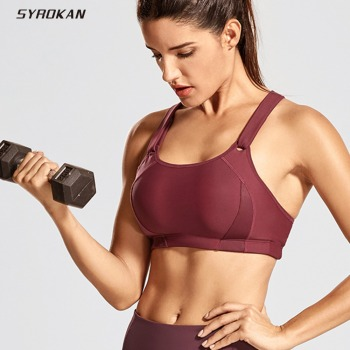 SYROKAN Women's Front Adjustable Lightly Padded Wirefree Racerback High Impact Sports Bra medium impact hanging neck front design drawstring sports bra in grey