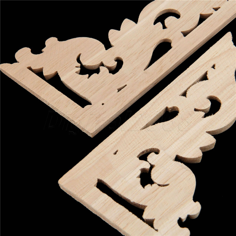 Image 5 - Wood Carved Corner Onlay Applique Unpainted Frame Decal carpenter Decoration Furniture Decor 1Pcs Left /Right 13*7*0.8CM-in Corner Brackets from Home Improvement