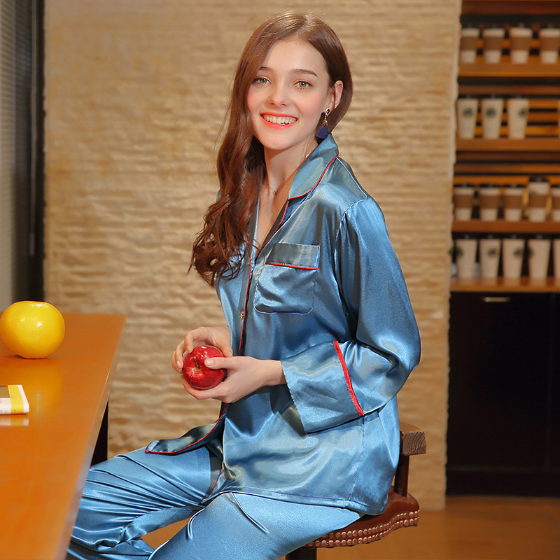 PS0202 2018 New Full Sleeve Long Pants Women Pajama Set Satin Silk Pyjamas Ladies Sexy Home Suit Clothing High Quality Sleepwear
