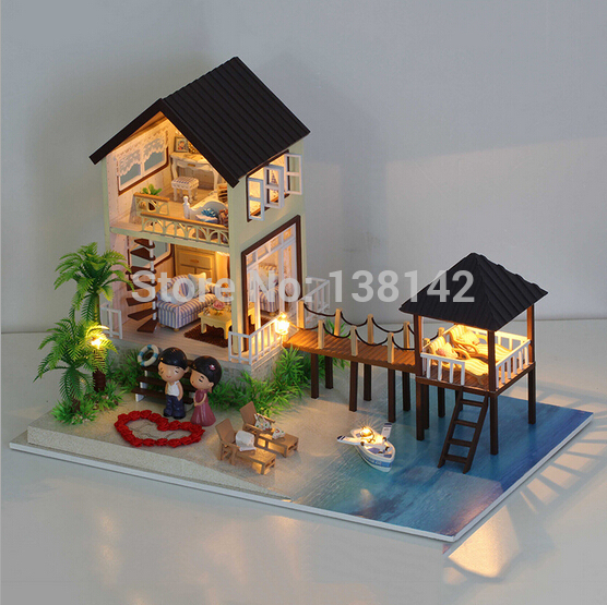 A027 New Large 3D Dollhouse DIY miniatura Maldives Holiday houses Wooden Doll House Furniture LED lights Toy Birthday Gift
