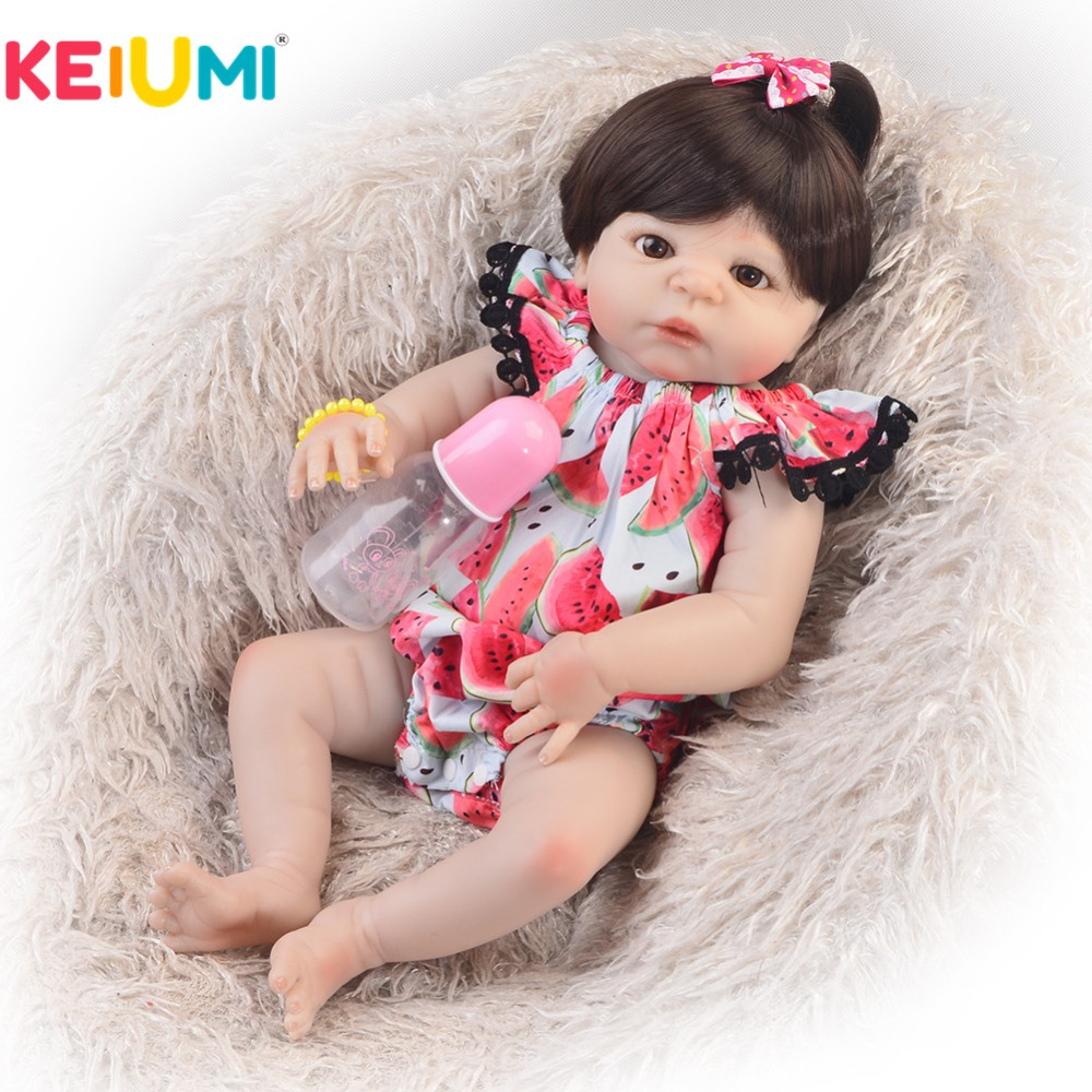 Collectible 23 57cm Reborn Dolls Full Silicone Body Brown Hair Realistic Baby Toy Doll For Girl Kid Birthday Gift Bedtime ToyCollectible 23 57cm Reborn Dolls Full Silicone Body Brown Hair Realistic Baby Toy Doll For Girl Kid Birthday Gift Bedtime Toy