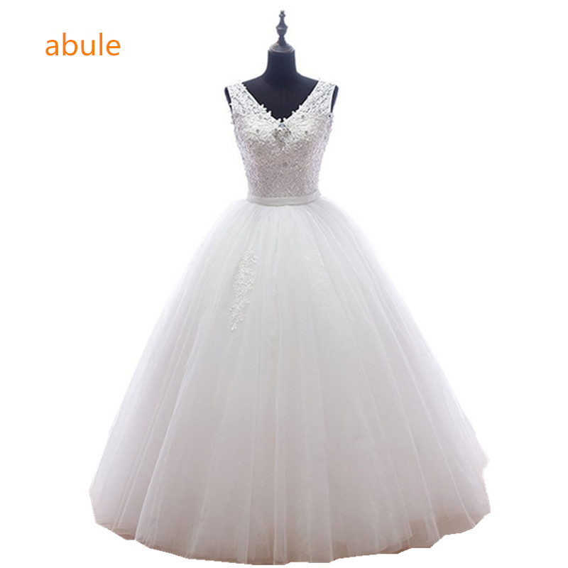 Sheer Mesh transparente rebordear Vestido de Novia Volver 2016 Nuevo - Vestidos de novia