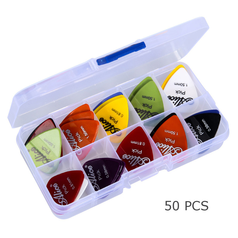 50pcs Guitar Picks 1Box Case Mixed Thickness 0.58mm-1.50mm Pick Acoustic Electric Guitar Accessories Musical Stringed Instrument two way regulating lever acoustic classical electric guitar neck truss rod adjustment core guitar parts