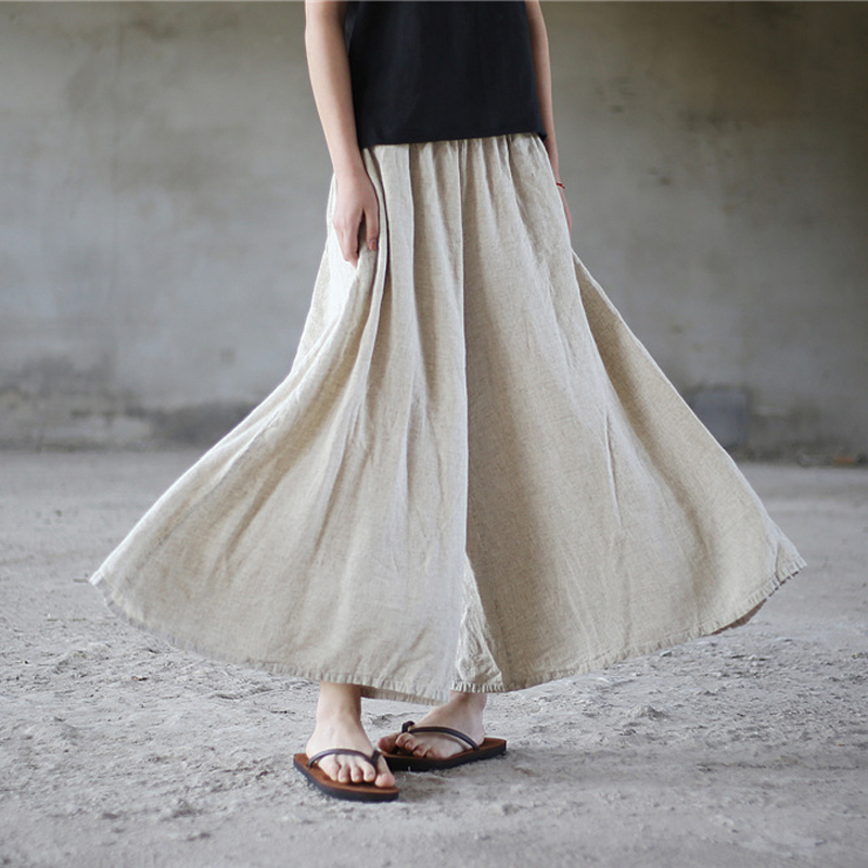 Johnature Women   Wide     Leg     Pants   Linen Elastic Waist Trouser 2018 Summer New Casual Loose Women Clothes Vintage Brief   Pants