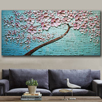 Handpainted Pallete Flowers Oil Painting on Canvas Modern Abstract Home Decoration Wall Art Large Knife Picture Floral Paintings