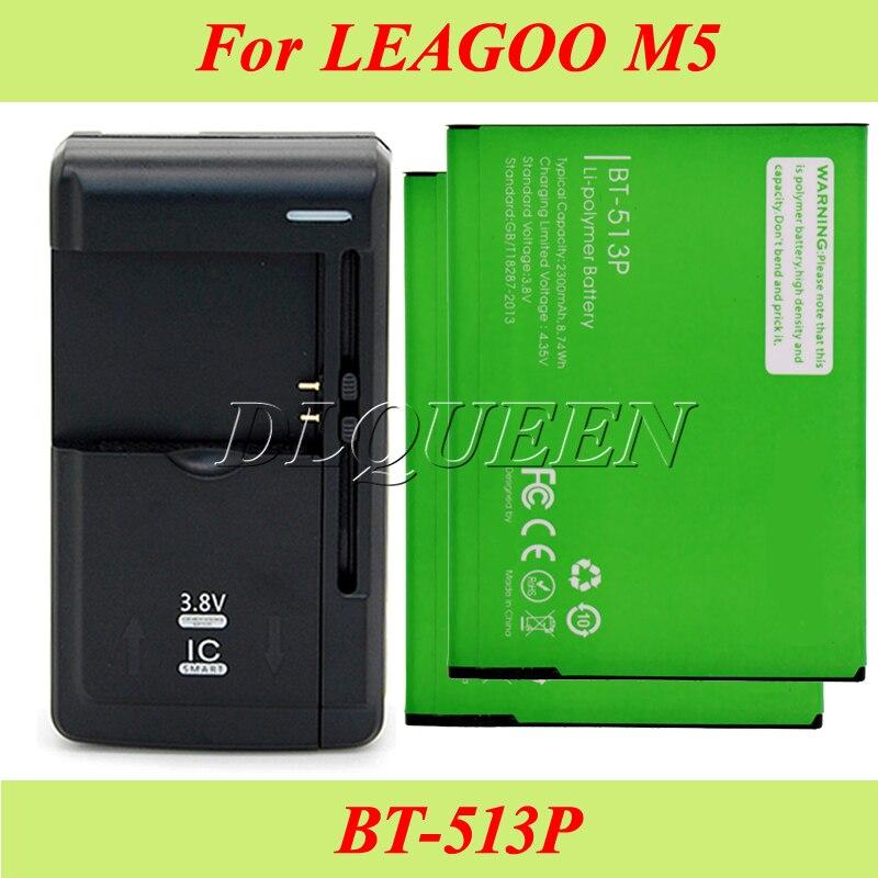 imágenes para 1 lot = 2 unids para leagoo bt-513p m5 batería 2300 mah batería batería acumulador akku + 1 unid universal cargador