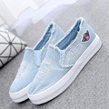 2017 new arrival  adult  women denim canvas shoes cut out flat lace on rubber sole casual shoes fashion broken hole Hipste shoes