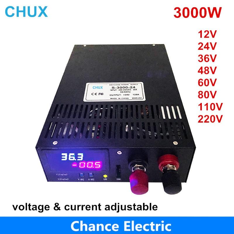 3000W alimentation à découpage 0-12V sortie réglable 15V 24V 36V 48V 60V 80V 100V 110V ca à alimentation cc affichage à LED
