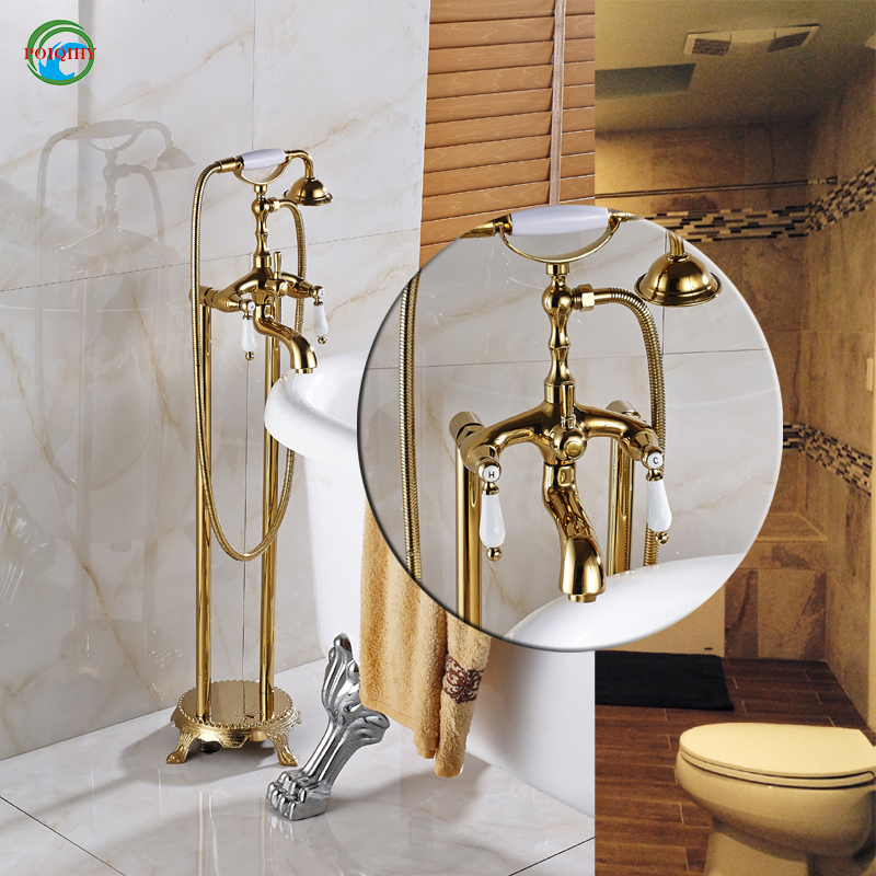Golden color telephone style free standing mixer faucet with shower head clawfoot filler