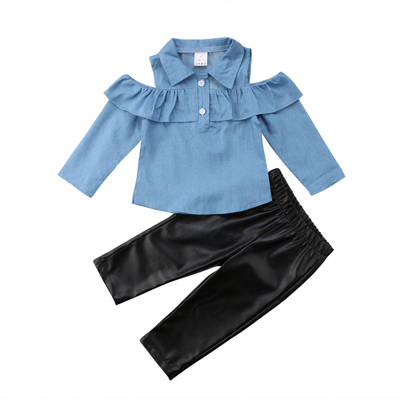 >New Fashion Toddler Kids Girls Clothing Set Off Shoulder Tops Shirt Skinny <font><b>Leather</b></font> <font><b>Pants</b></font> <font><b>Outfits</b></font> Set Clothes 1-6Yrs