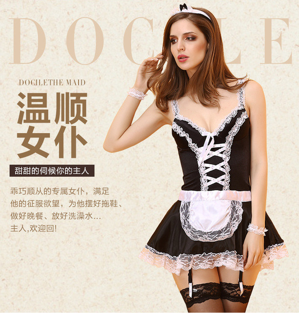 Exotic Apparel Maid Lingerie Costume Role Play 3 Pieces Set Plus Size XL XXL