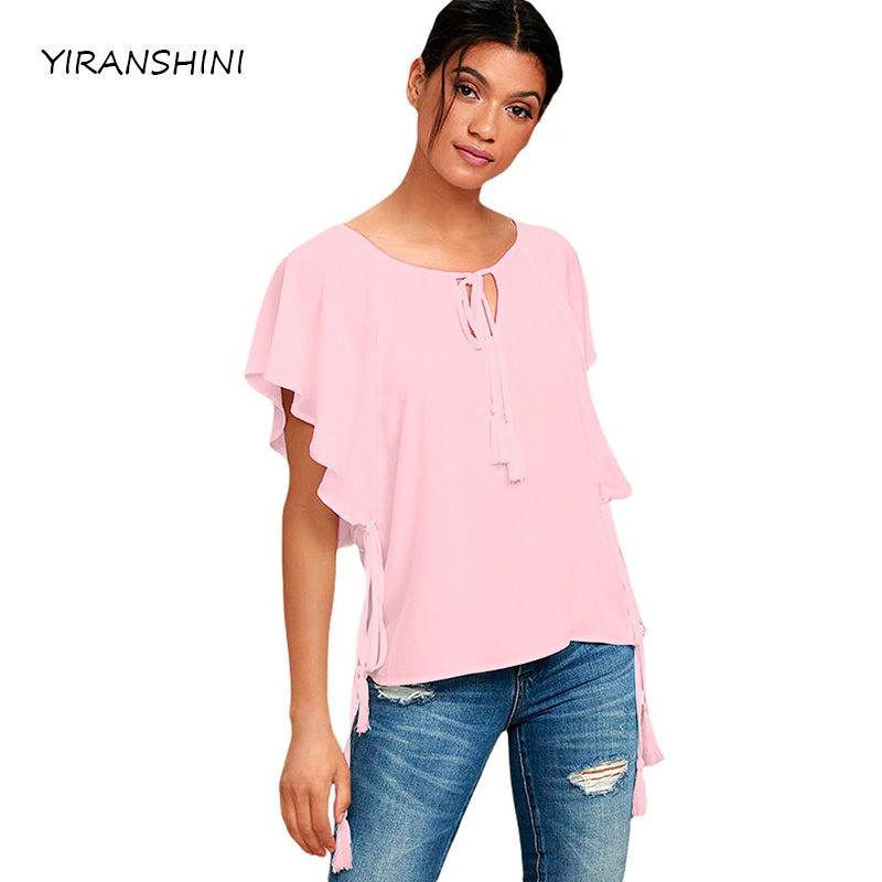 YIRANSHINI 2018 Summer Fashion Women O-neck Pink Butterfly Sleeve Top with Tasseled T shirts New Women Ruffles T-shirts LC250067