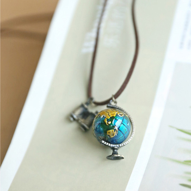 Vintage statement jewelry leather suede rope globe pendant vintage statement jewelry leather suede rope globe pendant necklacewomens clothing accessories for women necklaces mozeypictures Gallery