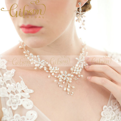 Freshwater Pearls Beaded Wedding Costume Jewelry Sets Vintage