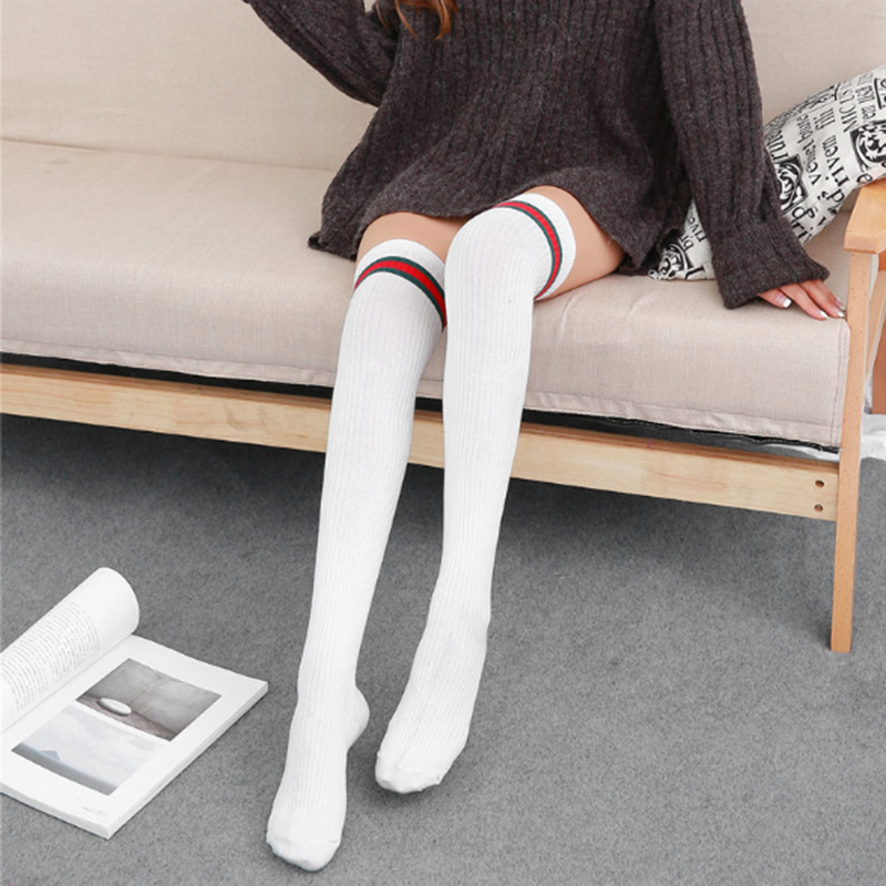Women 39 s autumn and winter new cotton stripe knee stockings female Japanese thin students double needle stockings in Stockings from Underwear amp Sleepwears