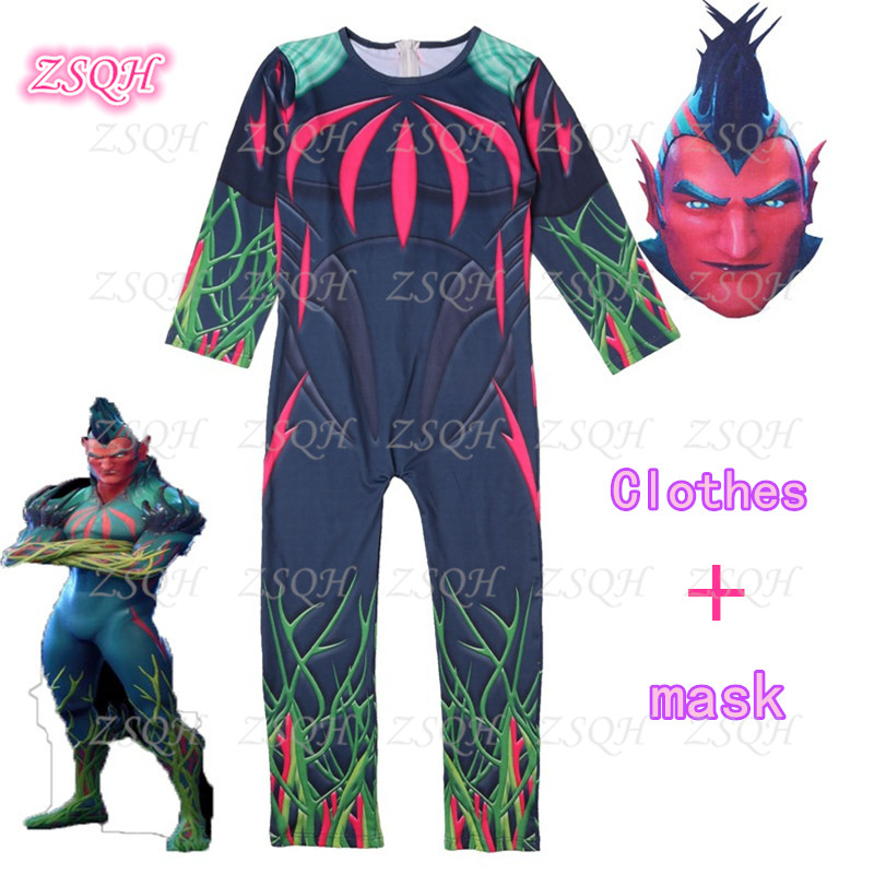 ZSQH Flytrap Jumpsuit Game Battle Royale Cosplay Costume for kids
