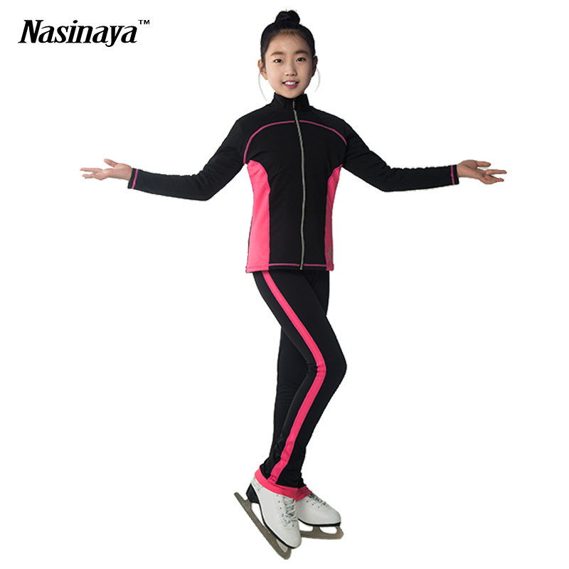 ФОТО Costume Customized Clothes Ice Skating Figure Skating Suit Jacket And Pants  Warm Feece Adult Child Girl Stripes