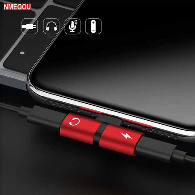 buy popular 0cef1 2ddc4 US $0.99 |2 In 1 Dual Ports Headphone Adapter Phone Case for Iphone X XR XS  Max 7 8 Plus 10 Charger Audio Splitter Coque Cover Accessories-in Flip ...