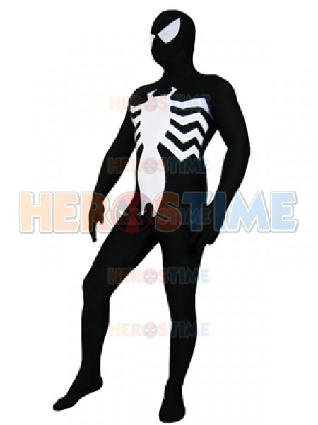 Fullbody Black And White Vemon Symbiote Spiderman Costume Spandex Superhero Zentai Suit Halloween Party Cosplay Bodysuit