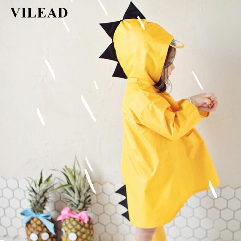 VILEAD Cute Small Dinosaur Polyester Baby Rain Coat Outdoor Waterproof Raincoat Children Windproof Poncho Boys Girls Rainwear