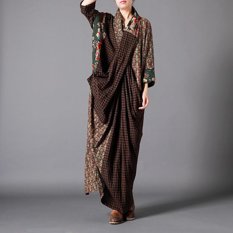 Femmes printemps coton lin Patchwork imprimé robe dames Plaid épissé robe femme Vintage coton lin 2019 robe
