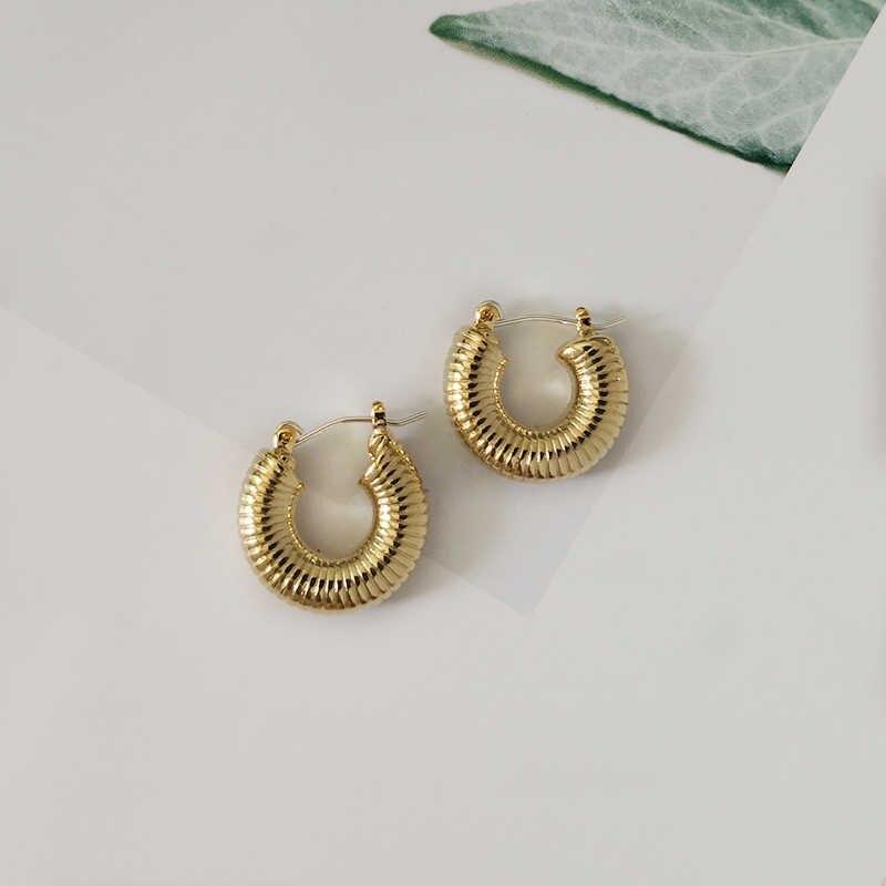 GHIDBK petit or Texture Chunky boucles d'oreilles pour les femmes déclaration solide cerceaux minimaliste épais quotidien boucle d'oreille bijoux cadeau