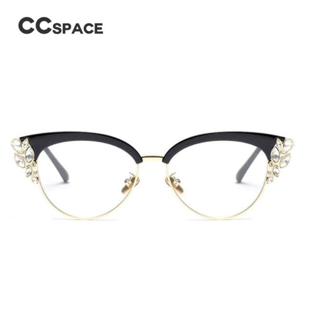 e9a0624c4aed CCSPACE Lady Cat Eye Shiny Rhinestones Glasses Frames For Women Brand  Designer Optical EyeGlasses Fashion Eyewear 45120-in Eyewear Frames from  Apparel ...