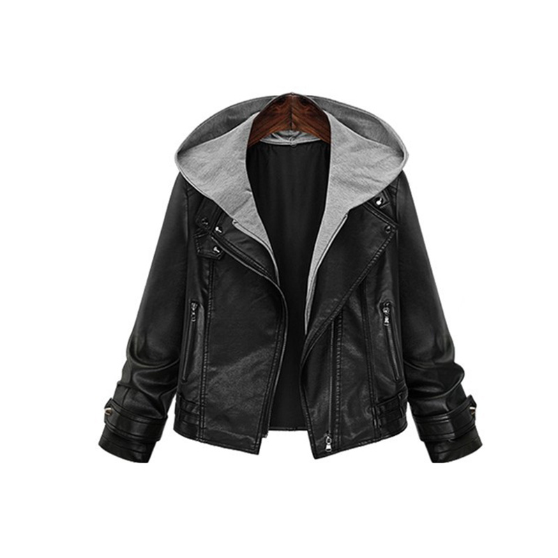 hooded leather jacket china plus size 5xl women winter biker perfecto femme cuir deri ceket. Black Bedroom Furniture Sets. Home Design Ideas