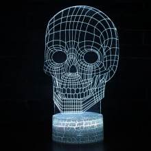 Magical Optical Illusions 3D Visual LED Night light Skull Skeleton Mood Lamp Micro USB Table Bulb 7 Colors Desk Decorative Light skull 3d cartoon usb mood led lamp creative atmosphere table lamp