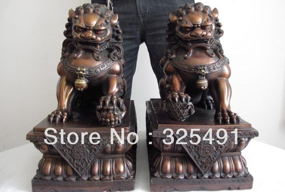 14 China bronze copper Palace Feng Shui Door Guardian Evil Fu foo dog lion states