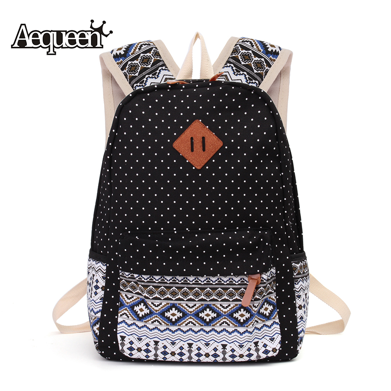 AEQUEEN 3 PCS/Set Women Backpack Canvas Printing School Bags For Teenagers Girls Laptop Backpacks Cute Rucksack School Bags