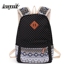 AEQUEEN 3 Pcs set Polka Dot Women Backpack Pringting Canvas Backpack Cute Schoolbag Kids Pen Pencil