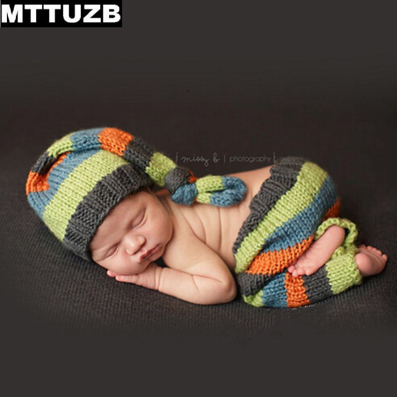 MTTUZB Newborn baby photography props infant knit crochet costume boys girls Photo Props children knitted hat pants set newborn photography props crochet costume set baby boy knit bib pants studio photography clothing mohair baby gift photo shoot