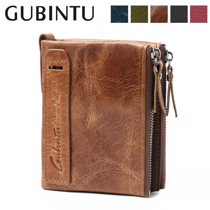 GUBINTU Vintage Genuine Leather Fashion Men's Money Bags Double Zipper Wallets Cow Leather Multifunction Wallets