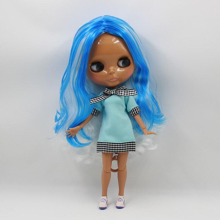 Beaukiss Обнаженная Блайт куклы с совместное тела синий с белым длинными волосами загар кожи блит bjd куклы для продажи