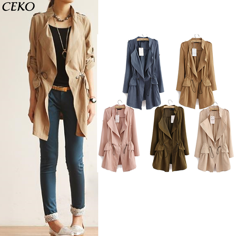 2019   Trench   Coat For Women Spring Autumn Korean Fashion Women Clothing Long Ladies Windbreaker Women   Trench   Slim Coat