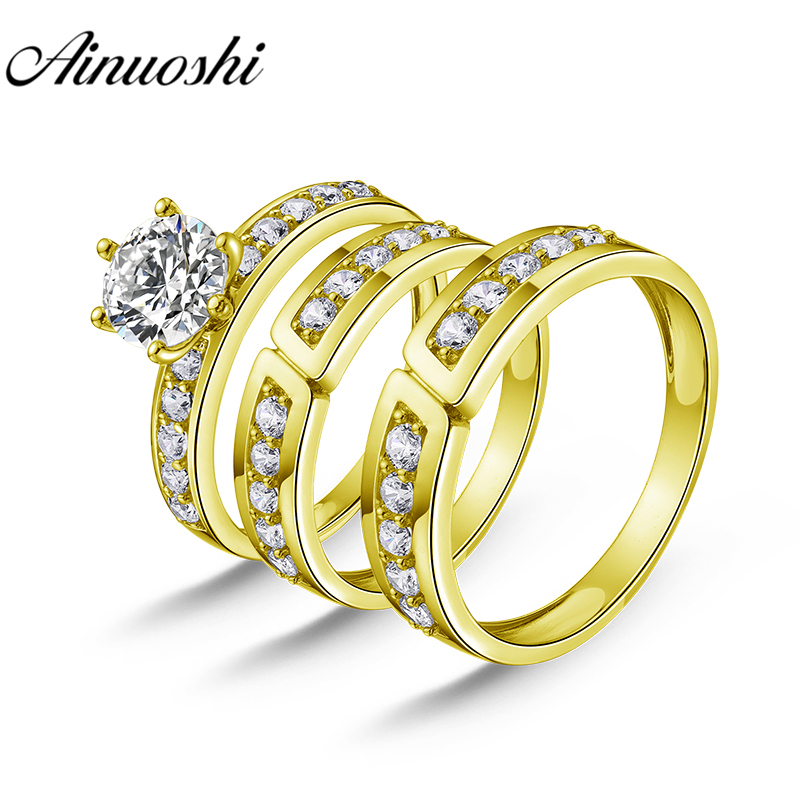 AINUOSHI Real Gold TRIO Rings Vintage Half Eternity Band Engagement Wedding Ring Jewelry 14K Solid Yellow Gold Couple Ring Set