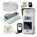 Free Shipping Code / Keypad Wireless Wifi IP Doorbell Video Intercom for Android Phone Unlock View + 180kg EM Door lock + 8G TF
