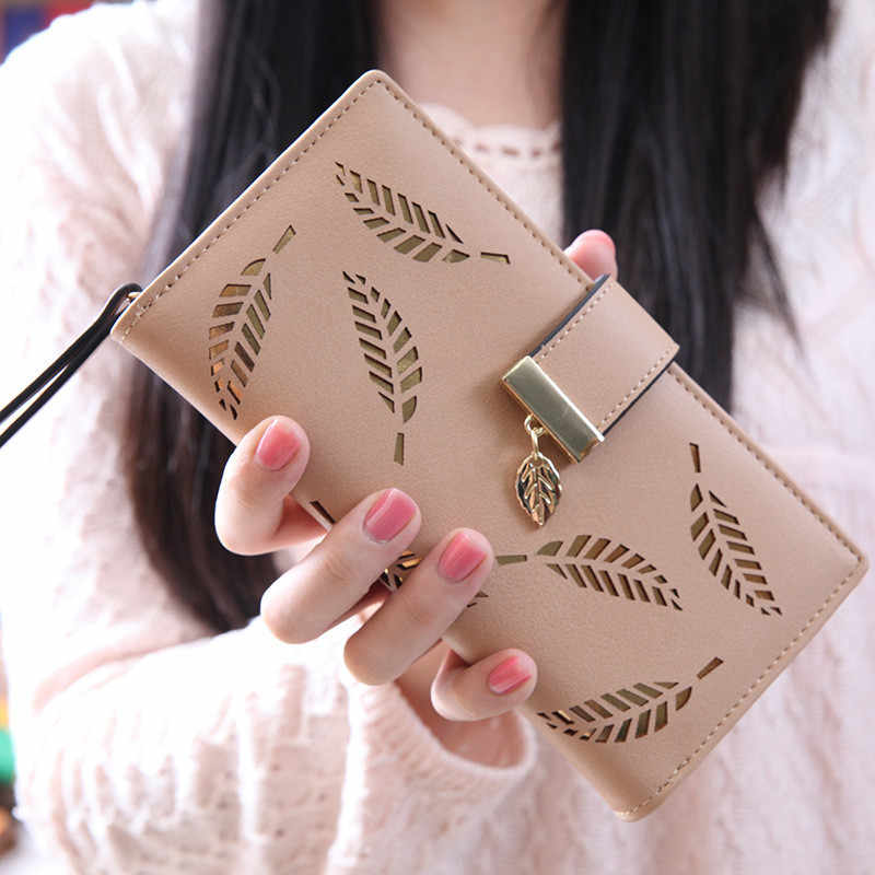 Wallet Women Long Wallet Ladies Buckle Hollow Out Leaf Purse Solid Color Clutch Card Holder Versatile Handbag Cartera Mujer *