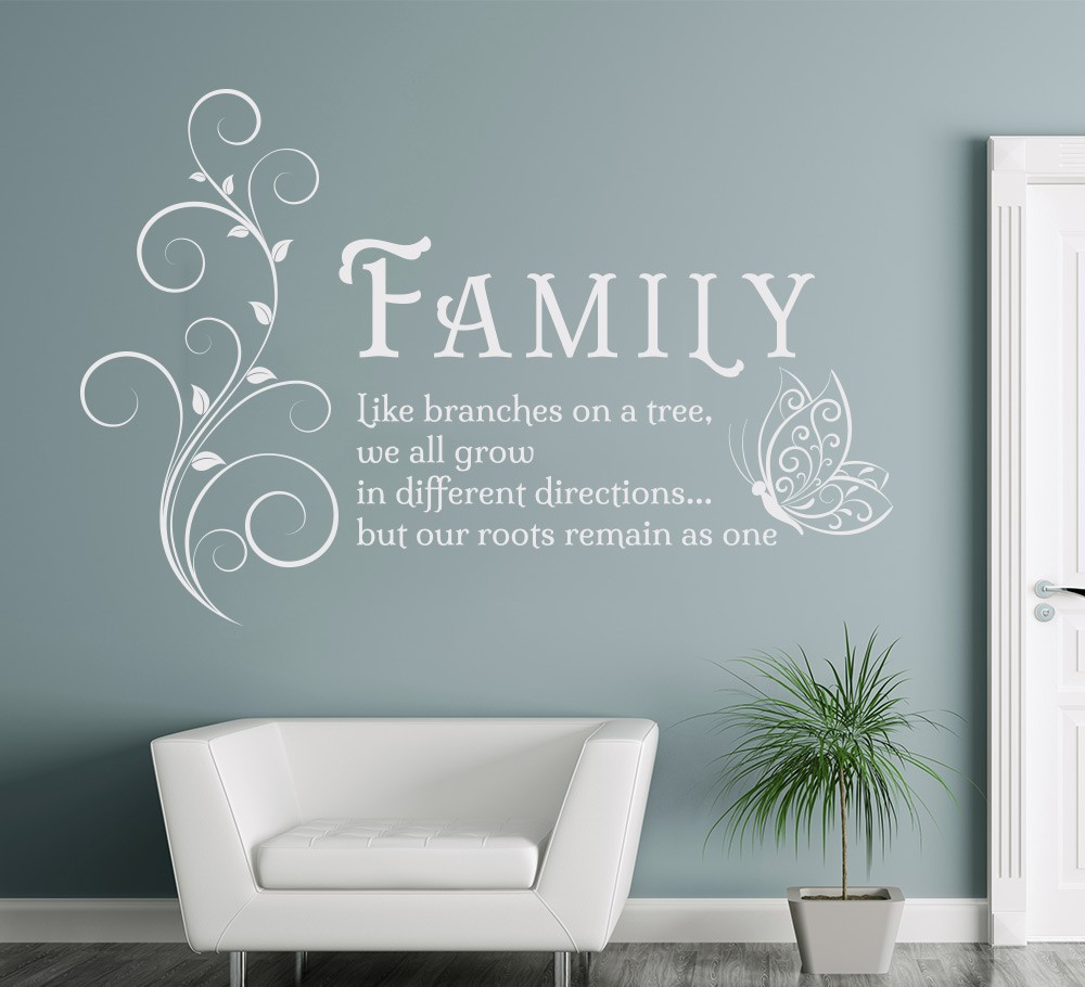 Aliexpress.com : Buy Family Like Branches Quotes Butterfly Vinyl Wall Art  Sticker Flower Decals Mural Removable Poster For Living Room Home Decor  From ...