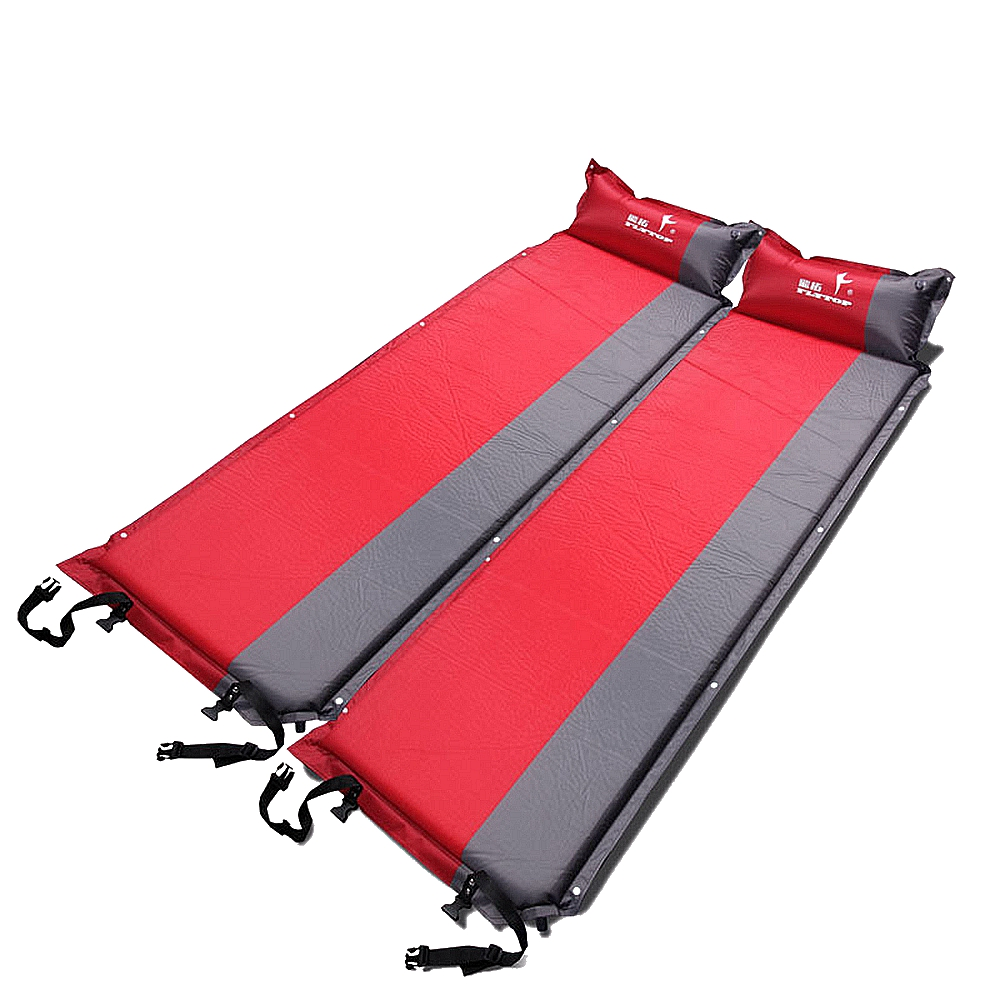 Self-Inflating Camping Sleeping Pad Outdoor Mat Splicing Thick Camp Automatic Inflatable Air Mattress 195*65*5cm Blue &Red