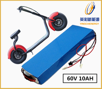 Factory price 60V 10AH Lithium ion Li ion Rechargeable battery for Harley electric bikes/e scooters and 60V Power supply