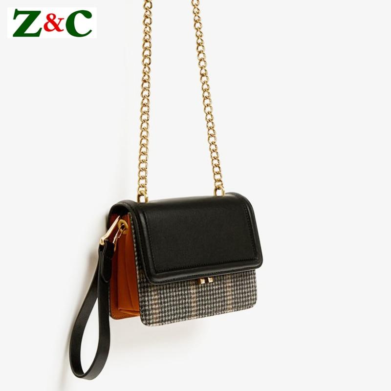Winter Luxury Casual Tote Messenger Bags Lady Women Plaid Crossbody Bag Small Weaving Chain Hasp Pocket Handbag High Quality Sac casual weaving design card holder handbag hasp wallet for women