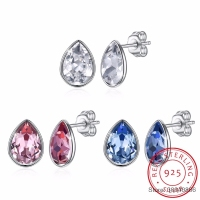 SMTCAT Crystal From Waterdrop Stud Earrings Simple Fashion Piercing S925 Silver Fine Jewelry For Women Joyas