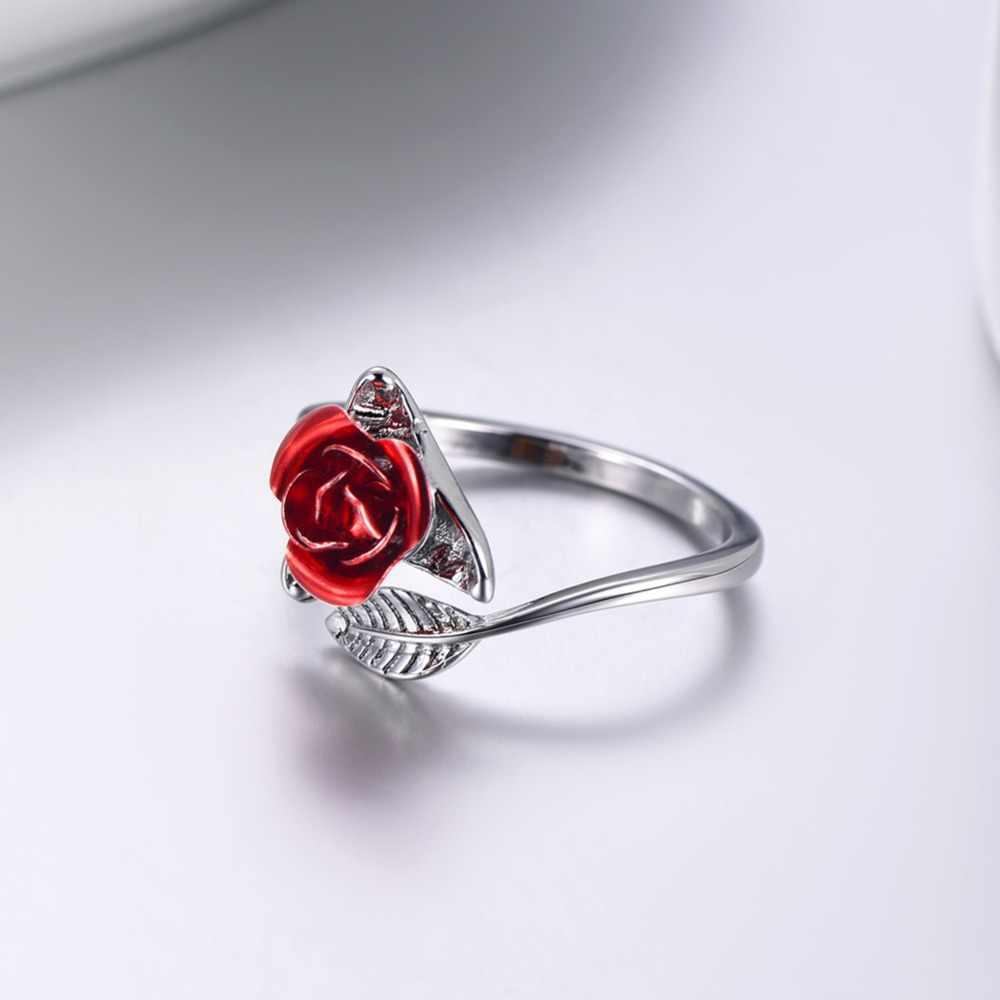 U7 Горячая продажа кольца Регулируемый Роза цветок золотой Цвет открыто кольцо для Для женщин подарок ко Дню Святого Валентина Прямая доставка R1020