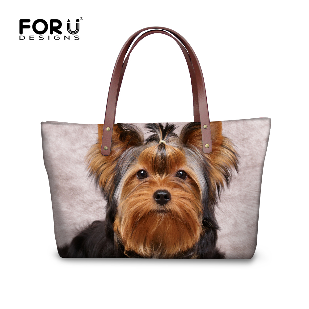 FORUDESIGNS Yorkshire Terrier Shoulder Bags Women Big Handbags For Girls Dog Cat Print Women's Bag Fashion bolsa feminina female forudesigns vintage black pet dog printed women large handbags fashion ladies top handle bag girls shoulder female big tote bag