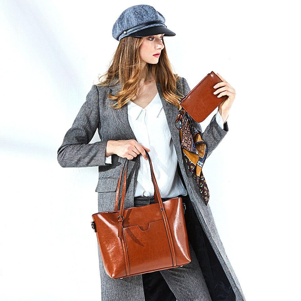 Naiste nahast käekotid kvaliteetne õlakott Naine Top-käepide kotid - Käekotid - Foto 1